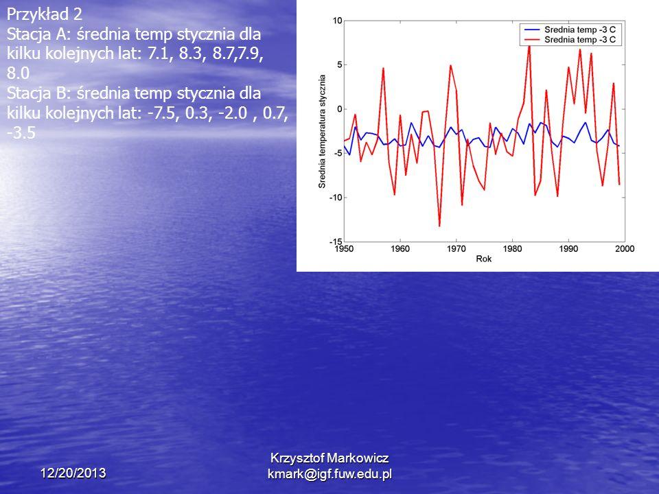 12/20/2013 Krzysztof Markowicz kmark@igf.fuw.edu.pl Przykład 2 Stacja A: średnia temp stycznia dla kilku kolejnych lat: 7.1, 8.3, 8.7,7.9, 8.0 Stacja