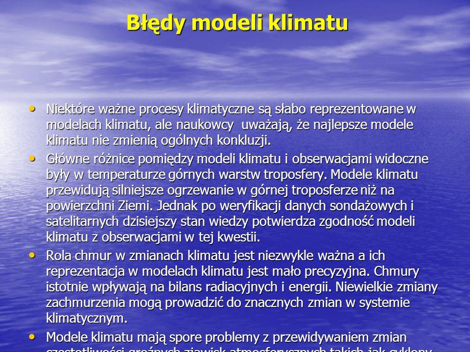Błędy modeli klimatu Niektóre ważne procesy klimatyczne są słabo reprezentowane w modelach klimatu, ale naukowcy uważają, że najlepsze modele klimatu