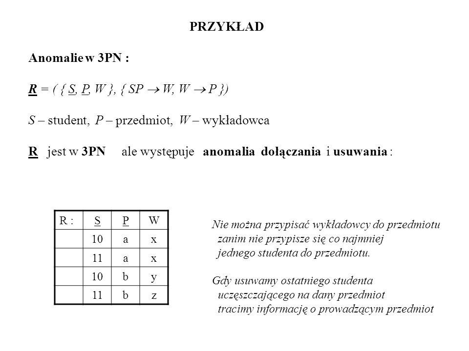 PRZYKŁAD Anomalie w 3PN : R = ( { S, P, W }, { SP W, W P }) S – student, P – przedmiot, W – wykładowca R jest w 3PN ale występuje anomalia dołączania