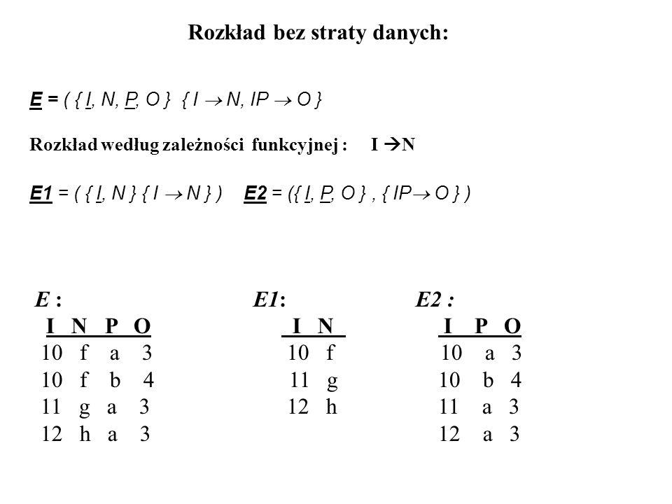 E = ( { I, N, P, O } { I N, IP O } Rozkład według zależności funkcyjnej : I N E1 = ( { I, N } { I N } ) E2 = ({ I, P, O }, { IP O } ) E : E1: E2 : I N