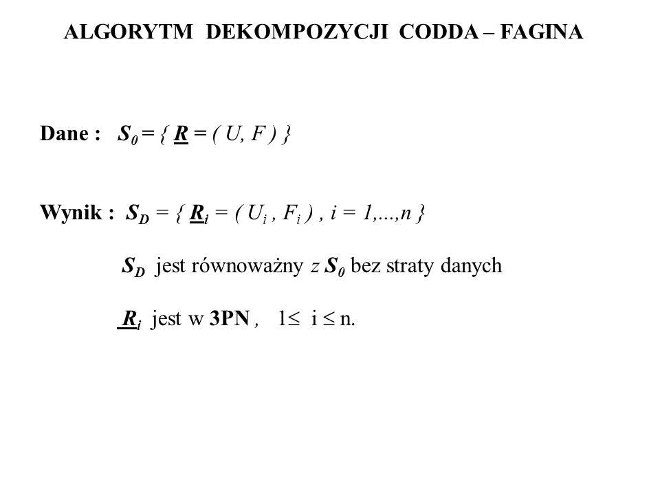 ALGORYTM DEKOMPOZYCJI CODDA – FAGINA Dane : S 0 = { R = ( U, F ) } Wynik : S D = { R i = ( U i, F i ), i = 1,...,n } S D jest równoważny z S 0 bez str