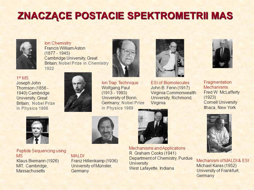ZNACZĄCE POSTACIE SPEKTROMETRII MAS 1 st MS Joseph John Thomson (1856 - 1940) Cambridge University, Great Britain; Nobel Prize in Physics 1906 Ion Che