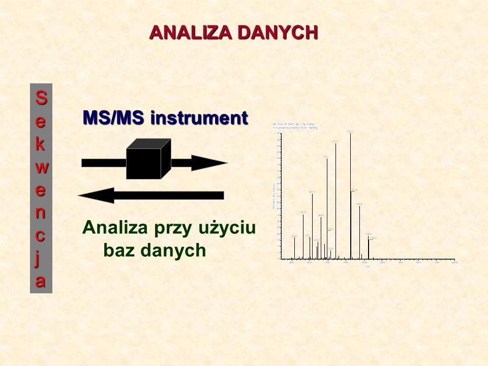 Se SSeekwencjakwencjaSSeekwencjakwencja MS/MS instrument Analiza przy użyciu baz danych ANALIZA DANYCH