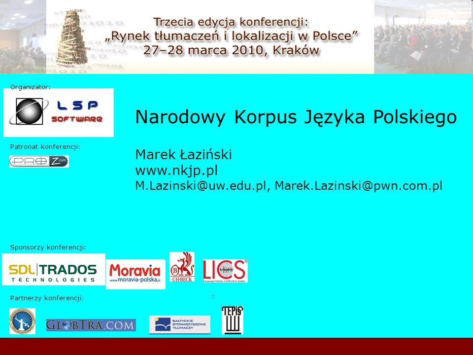 Sponsorzy konferencji: Patronat konferencji: : Organizator: : Partnerzy konferencji: Narodowy Korpus Języka Polskiego Marek Łaziński www.nkjp.pl M.Laz