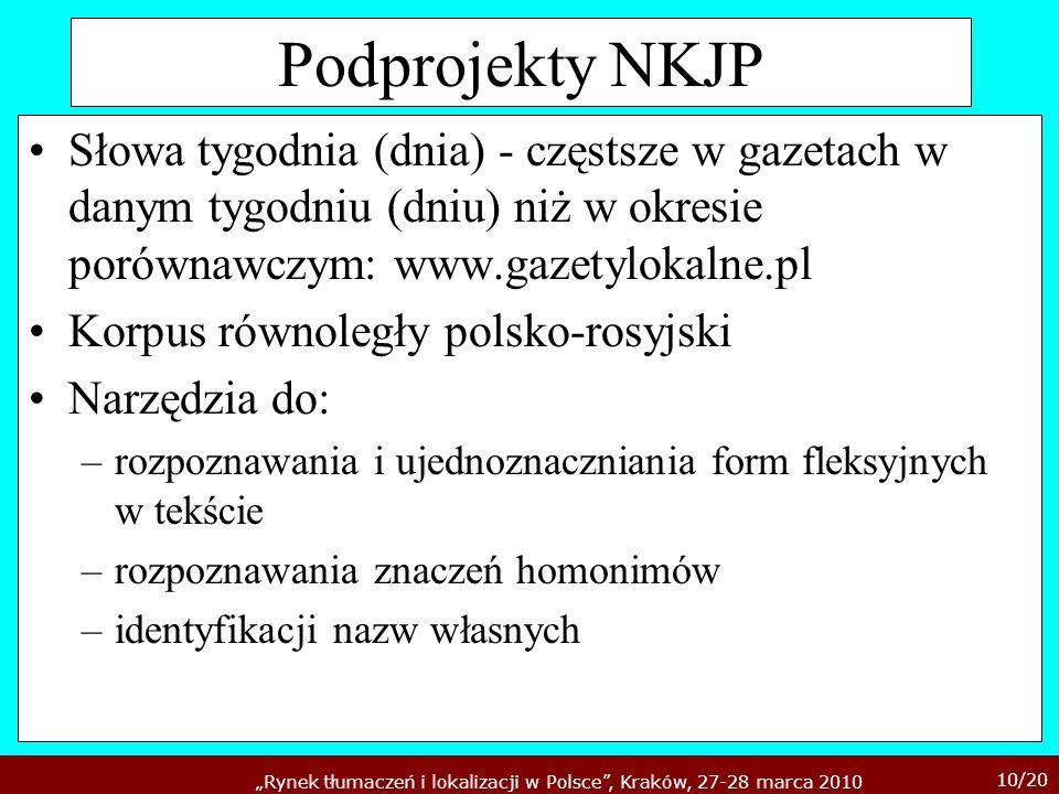 10/20 Rynek tłumaczeń i lokalizacji w Polsce, Kraków, 27-28 marca 2010 Podprojekty NKJP Słowa tygodnia (dnia) - częstsze w gazetach w danym tygodniu (