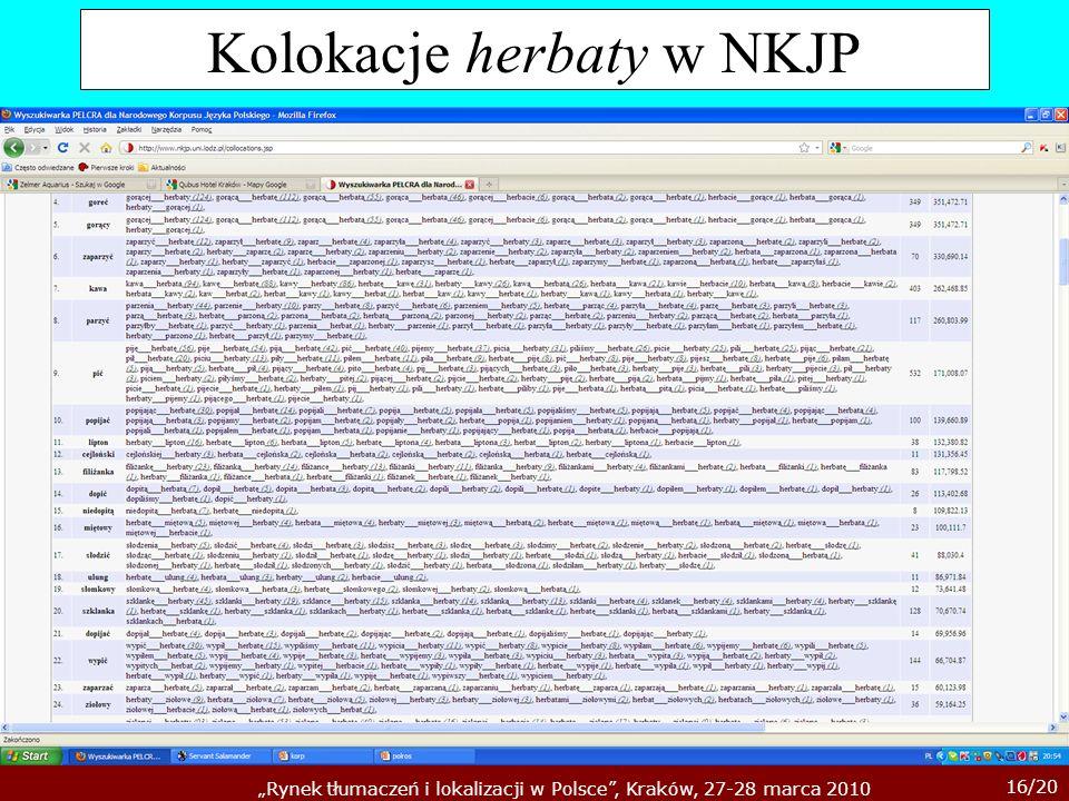 16/20 Rynek tłumaczeń i lokalizacji w Polsce, Kraków, 27-28 marca 2010 Kolokacje herbaty w NKJP