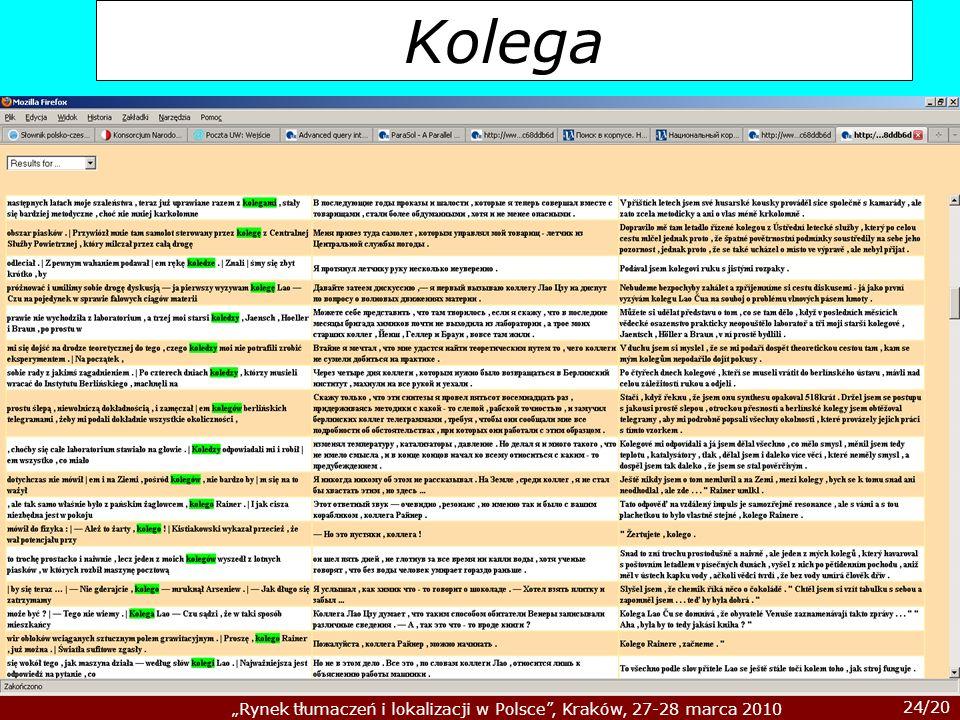 24/20 Rynek tłumaczeń i lokalizacji w Polsce, Kraków, 27-28 marca 2010 Kolega