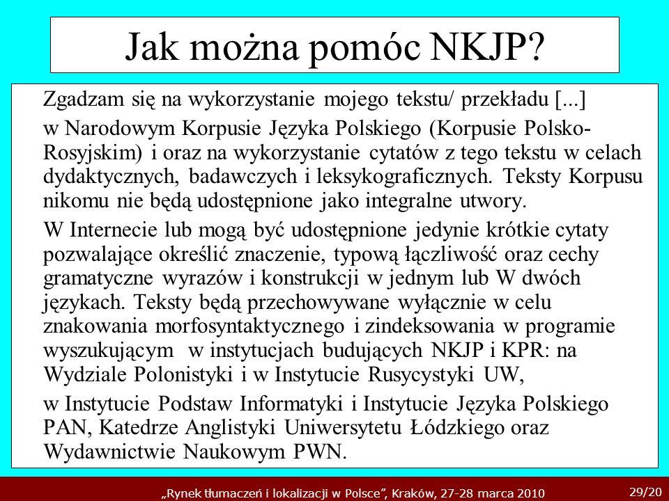 29/20 Rynek tłumaczeń i lokalizacji w Polsce, Kraków, 27-28 marca 2010 Jak można pomóc NKJP? Zgadzam się na wykorzystanie mojego tekstu/ przekładu [..