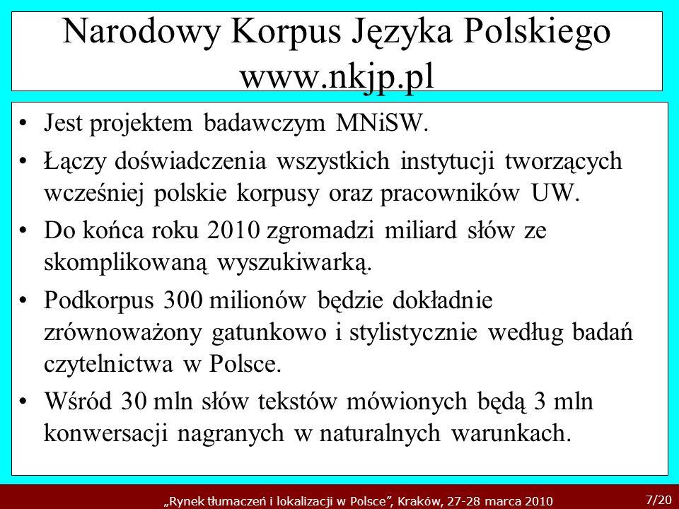 7/20 Rynek tłumaczeń i lokalizacji w Polsce, Kraków, 27-28 marca 2010 Narodowy Korpus Języka Polskiego www.nkjp.pl Jest projektem badawczym MNiSW. Łąc