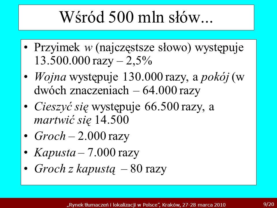 9/20 Rynek tłumaczeń i lokalizacji w Polsce, Kraków, 27-28 marca 2010 Wśród 500 mln słów... Przyimek w (najczęstsze słowo) występuje 13.500.000 razy –