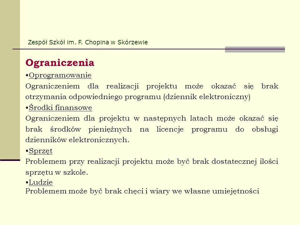 Ograniczenia Oprogramowanie Ograniczeniem dla realizacji projektu może okazać się brak otrzymania odpowiedniego programu (dziennik elektroniczny) Środ