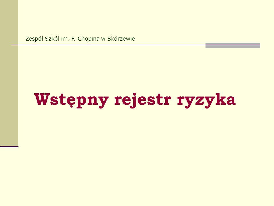 Wstępny rejestr ryzyka Zespół Szkół im. F. Chopina w Skórzewie