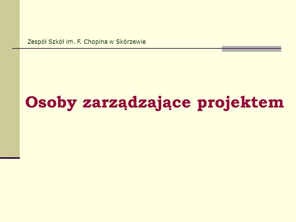 Osoby zarządzające projektem Zespół Szkół im. F. Chopina w Skórzewie