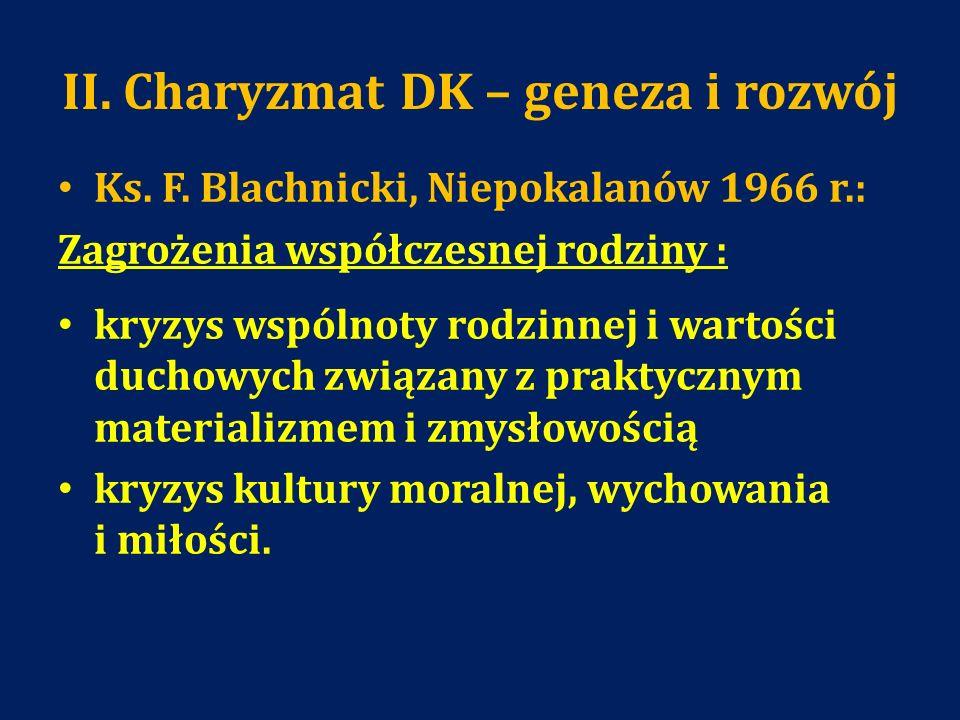 II. Charyzmat DK – geneza i rozwój Ks. F. Blachnicki, Niepokalanów 1966 r.: Zagrożenia współczesnej rodziny : kryzys wspólnoty rodzinnej i wartości du