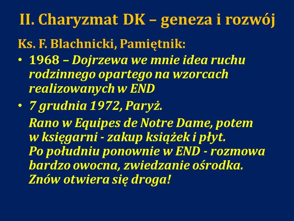 II. Charyzmat DK – geneza i rozwój Ks. F. Blachnicki, Pamiętnik: 1968 – Dojrzewa we mnie idea ruchu rodzinnego opartego na wzorcach realizowanych w EN
