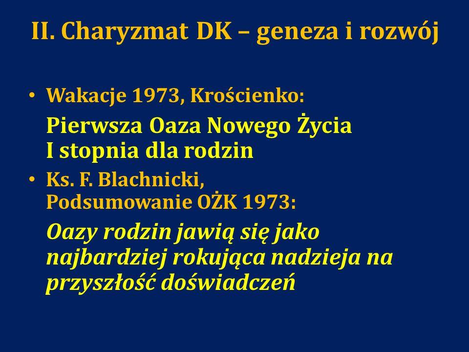 II. Charyzmat DK – geneza i rozwój Wakacje 1973, Krościenko: Pierwsza Oaza Nowego Życia I stopnia dla rodzin Ks. F. Blachnicki, Podsumowanie OŻK 1973: