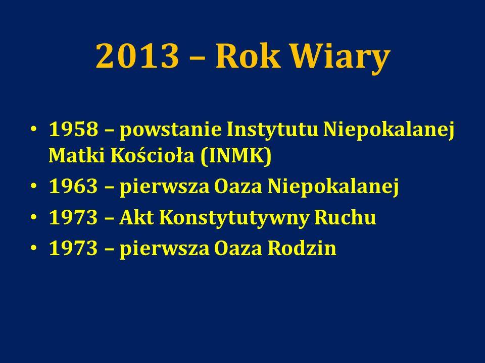 2013 – Rok Wiary 1958 – powstanie Instytutu Niepokalanej Matki Kościoła (INMK) 1963 – pierwsza Oaza Niepokalanej 1973 – Akt Konstytutywny Ruchu 1973 –