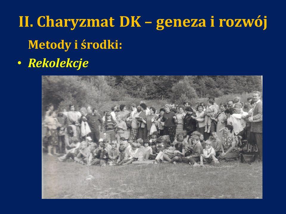 II. Charyzmat DK – geneza i rozwój Metody i środki: Rekolekcje
