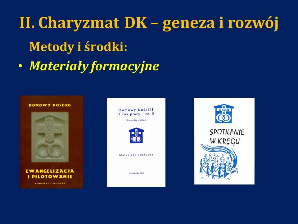 II. Charyzmat DK – geneza i rozwój Metody i środki: Materiały formacyjne