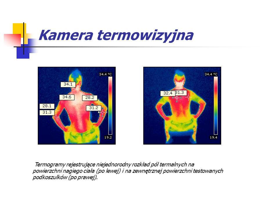 Kamera termowizyjna Termogramy rejestrujące niejednorodny rozkład pól termalnych na powierzchni nagiego ciała (po lewej) i na zewnętrznej powierzchni