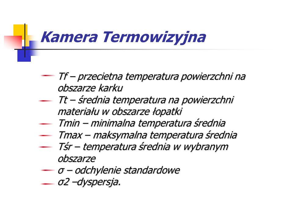 Kamera Termowizyjna Tf – przecietna temperatura powierzchni na obszarze karku Tt – średnia temperatura na powierzchni materiału w obszarze łopatki Tmi