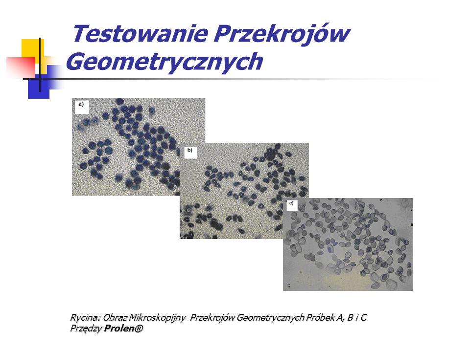 Testowanie Przekrojów Geometrycznych Rycina: Obraz Mikroskopijny Przekrojów Geometrycznych Próbek A, B i C Przędzy Prolen®