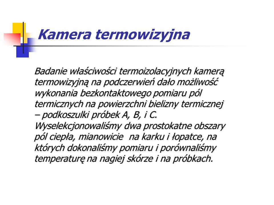 Kamera termowizyjna Termogramy rejestrujące niejednorodny rozkład pól termalnych na powierzchni nagiego ciała (po lewej) i na zewnętrznej powierzchni testowanych podkoszulków (po prawej).