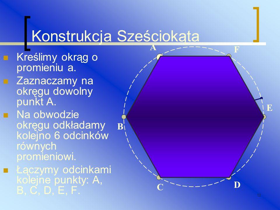 12 Konstrukcja Sześciokąta Kreślimy okrąg o promieniu a. Zaznaczamy na okręgu dowolny punkt A. Na obwodzie okręgu odkładamy kolejno 6 odcinków równych
