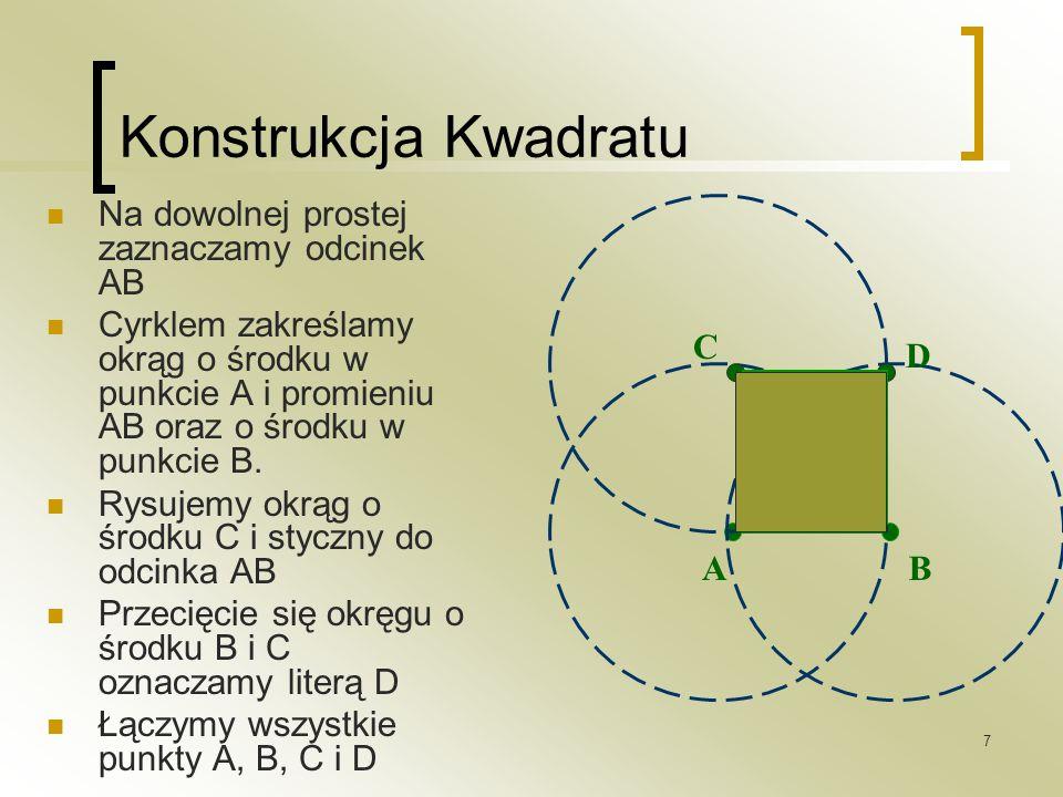 7 Konstrukcja Kwadratu Na dowolnej prostej zaznaczamy odcinek AB Cyrklem zakreślamy okrąg o środku w punkcie A i promieniu AB oraz o środku w punkcie