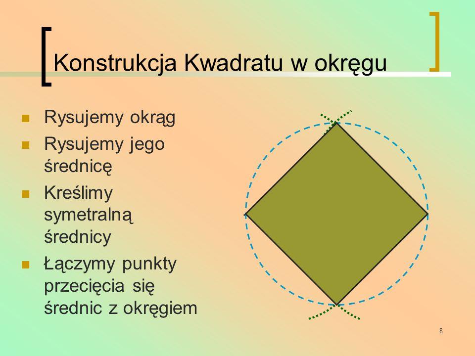 9 Pięciokąt Ma 5 boków równej długości Miara kąta wewnętrznego wynosi 108 o Suma miar kątów wewnętrznych to 540 o Ma 5 przekątnych Ma 5 osi symetrii Nie posiada środka symetrii