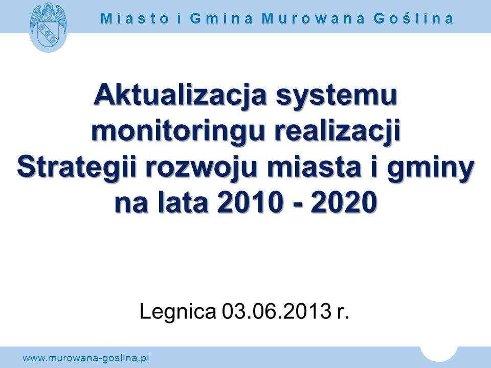 www.murowana-goslina.pl M i a s t o i G m i n a M u r o w a n a G o ś l i n a Aktualizacja systemu monitoringu realizacji Strategii rozwoju miasta i g