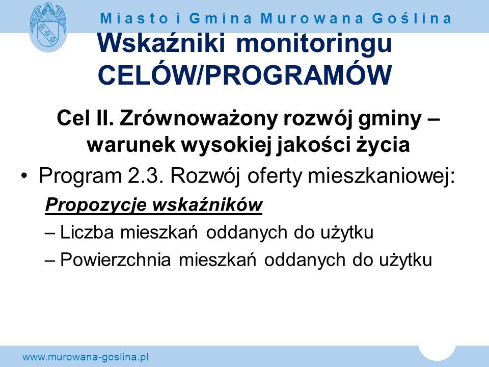 www.murowana-goslina.pl M i a s t o i G m i n a M u r o w a n a G o ś l i n a Wskaźniki monitoringu CELÓW/PROGRAMÓW Cel II. Zrównoważony rozwój gminy