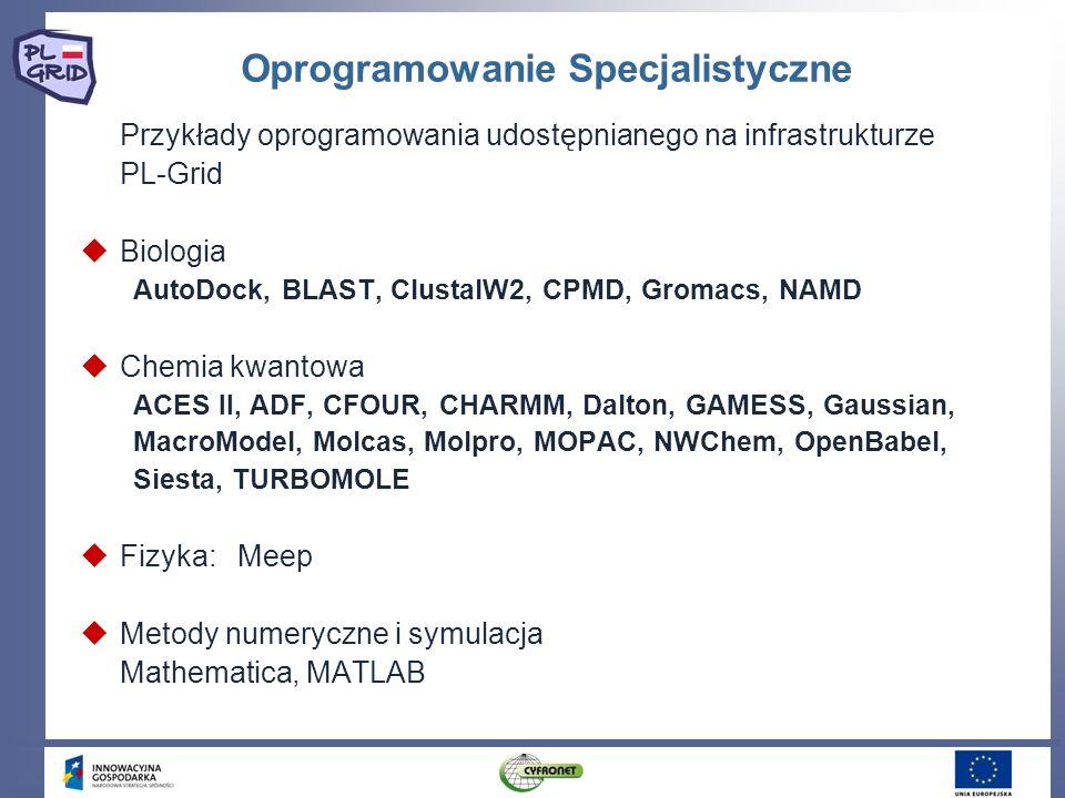 Oprogramowanie Specjalistyczne Przykłady oprogramowania udostępnianego na infrastrukturze PL-Grid Biologia AutoDock, BLAST, ClustalW2, CPMD, Gromacs,