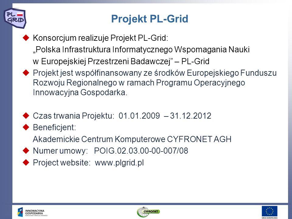 Projekt PL-Grid Konsorcjum realizuje Projekt PL-Grid: Polska Infrastruktura Informatycznego Wspomagania Nauki w Europejskiej Przestrzeni Badawczej – P