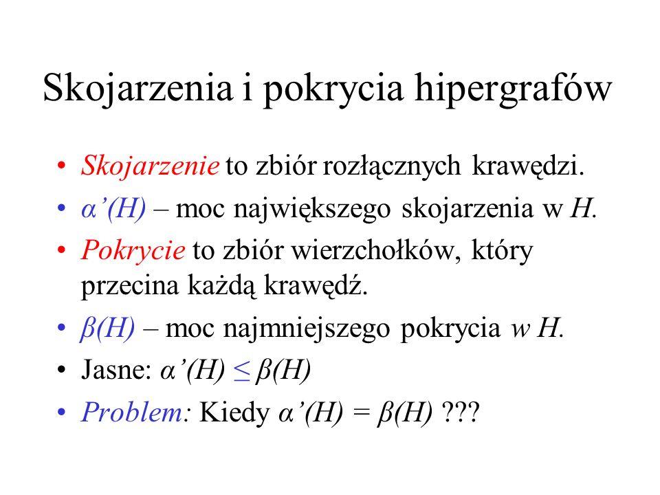 Hipergrafy Hipergraf to para H=(V,E), gdzie E to rodzina niepustych pozdbiorów zbioru V. V – zbiór wierzchołków, E – zbiór krawędzi Hipergraf jest k-j