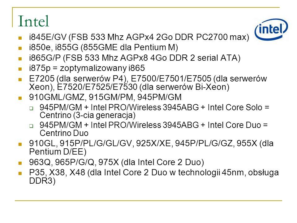 Intel i845E/GV (FSB 533 Mhz AGPx4 2Go DDR PC2700 max) i850e, i855G (855GME dla Pentium M) i865G/P (FSB 533 Mhz AGPx8 4Go DDR 2 serial ATA) i875p = zop