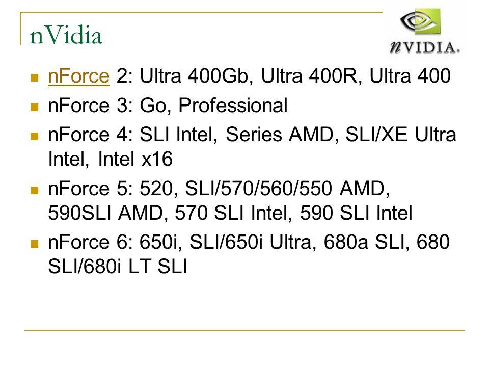 nVidia nForce 2: Ultra 400Gb, Ultra 400R, Ultra 400 nForce nForce 3: Go, Professional nForce 4: SLI Intel, Series AMD, SLI/XE Ultra Intel, Intel x16 n