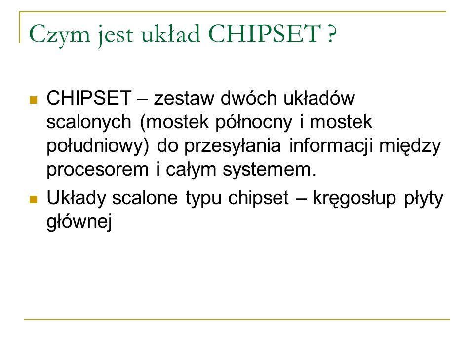 Czym jest układ CHIPSET ? CHIPSET – zestaw dwóch układów scalonych (mostek północny i mostek południowy) do przesyłania informacji między procesorem i
