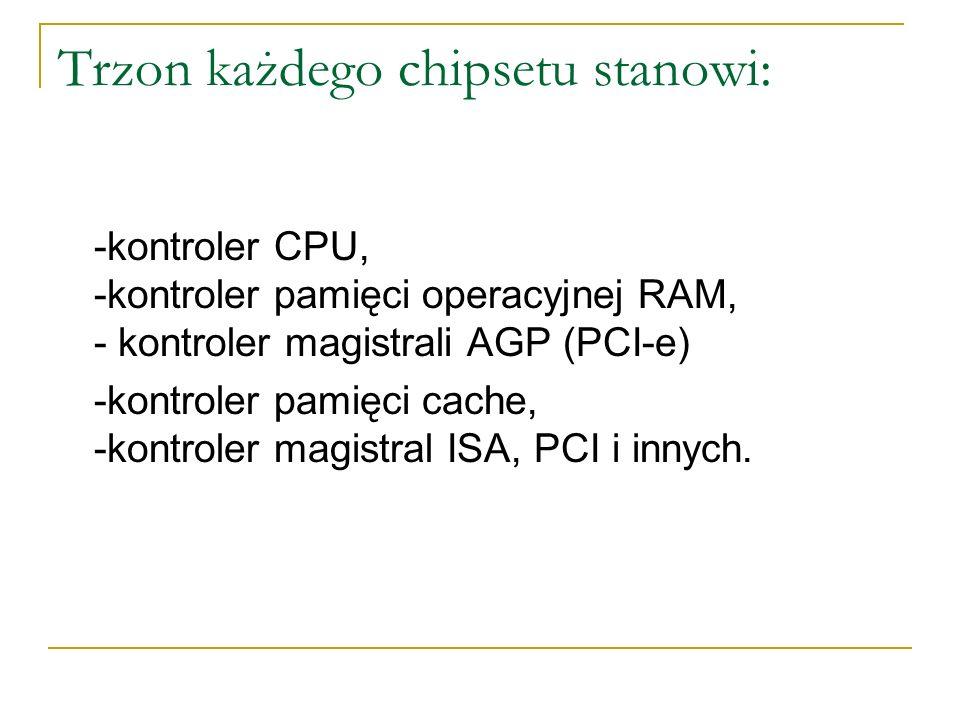 Trzon każdego chipsetu stanowi: -kontroler CPU, -kontroler pamięci operacyjnej RAM, - kontroler magistrali AGP (PCI-e) -kontroler pamięci cache, -kont