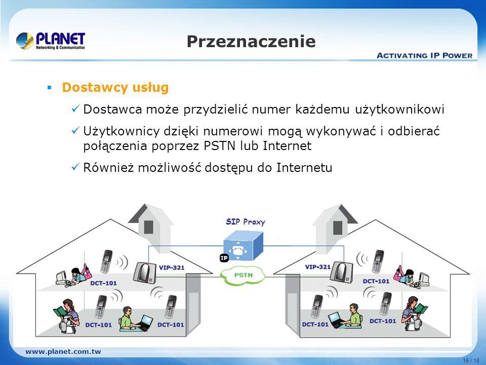 www.planet.com.tw 15 / 18 Dostawcy usług Dostawca może przydzielić numer każdemu użytkownikowi Użytkownicy dzięki numerowi mogą wykonywać i odbierać p