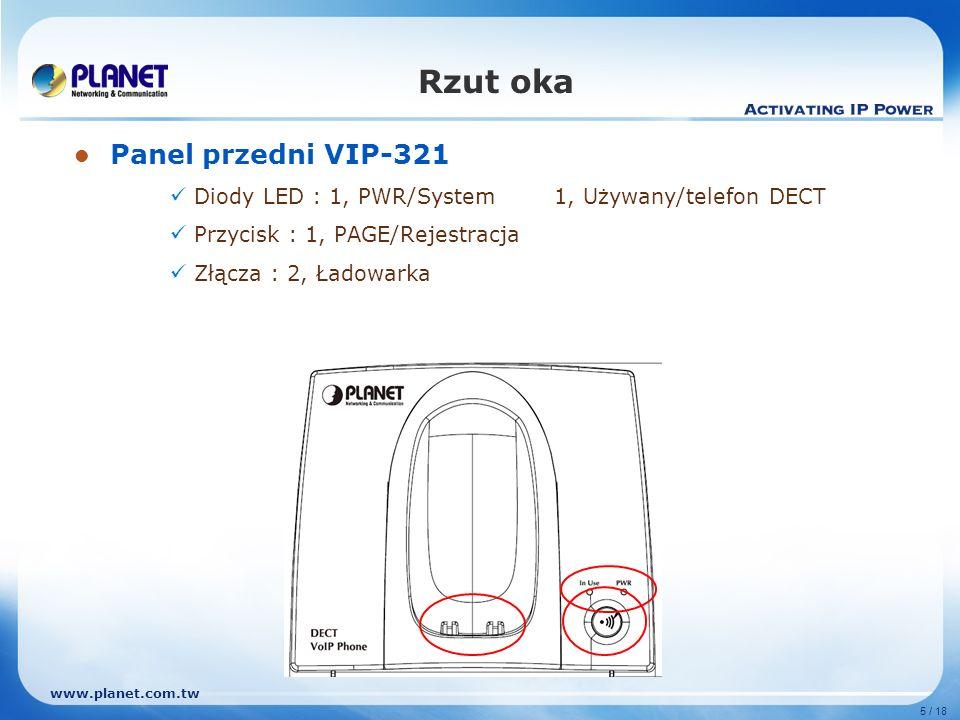 www.planet.com.tw 5 / 18 Rzut oka Panel przedni VIP-321 Diody LED : 1, PWR/System1, Używany/telefon DECT Przycisk : 1, PAGE/Rejestracja Złącza : 2, Ła
