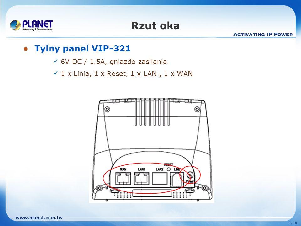 www.planet.com.tw 7 / 18 Rzut oka Tylny panel VIP-321 6V DC / 1.5A, gniazdo zasilania 1 x Linia, 1 x Reset, 1 x LAN, 1 x WAN