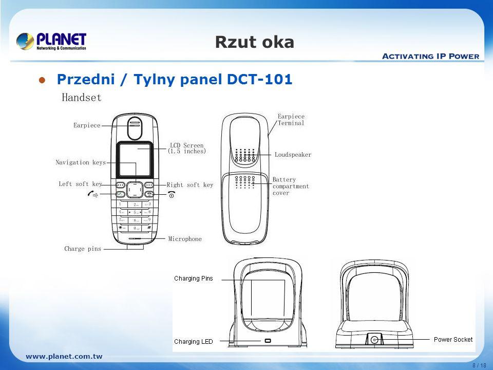 www.planet.com.tw 9 / 18 Zalety Podstawowe funkcje Słuchawka DECT i stacja bazowa – Wbudowany interfejs DECT / GAP Do 5 rejestracji słuchawek DECT, doskonałe do komunikacji wewnętrznej w domu i małym biurze.