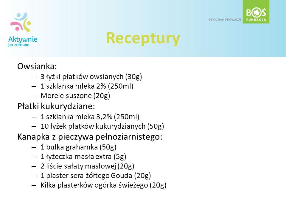 Receptury Owsianka: – 3 łyżki płatków owsianych (30g) – 1 szklanka mleka 2% (250ml) – Morele suszone (20g) Płatki kukurydziane: – 1 szklanka mleka 3,2