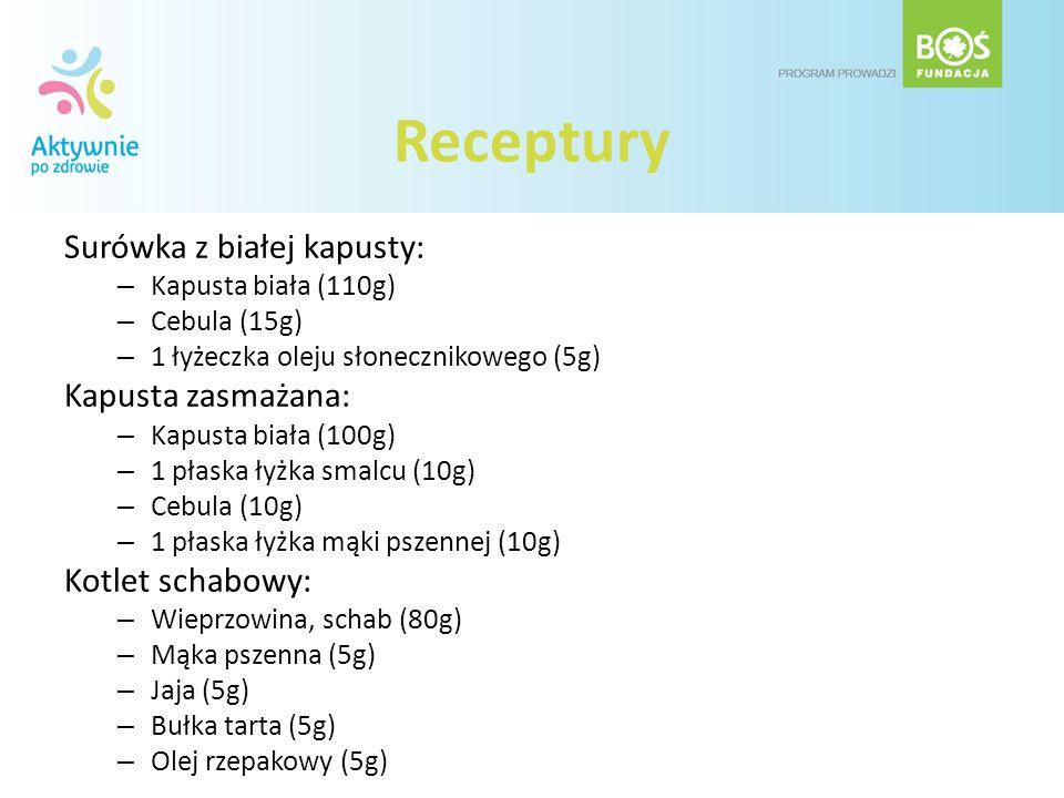 Receptury Surówka z białej kapusty: – Kapusta biała (110g) – Cebula (15g) – 1 łyżeczka oleju słonecznikowego (5g) Kapusta zasmażana: – Kapusta biała (