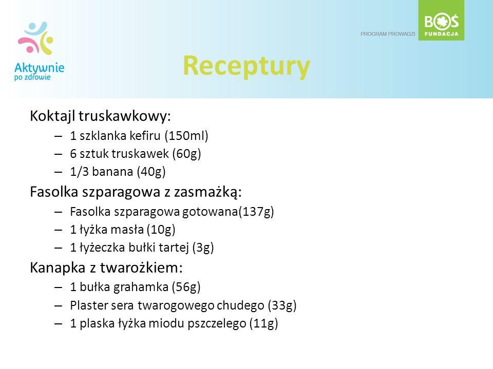 Receptury Koktajl truskawkowy: – 1 szklanka kefiru (150ml) – 6 sztuk truskawek (60g) – 1/3 banana (40g) Fasolka szparagowa z zasmażką: – Fasolka szpar