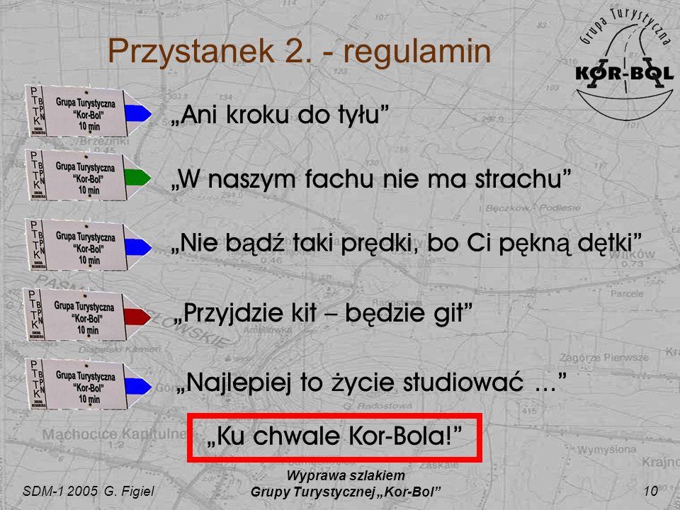 SDM-1 2005 G. Figiel Wyprawa szlakiem Grupy Turystycznej Kor-Bol 10 Przystanek 2. - regulamin Ani kroku do tyłu Nie b ą d ź taki pr ę dki, bo Ci p ę k