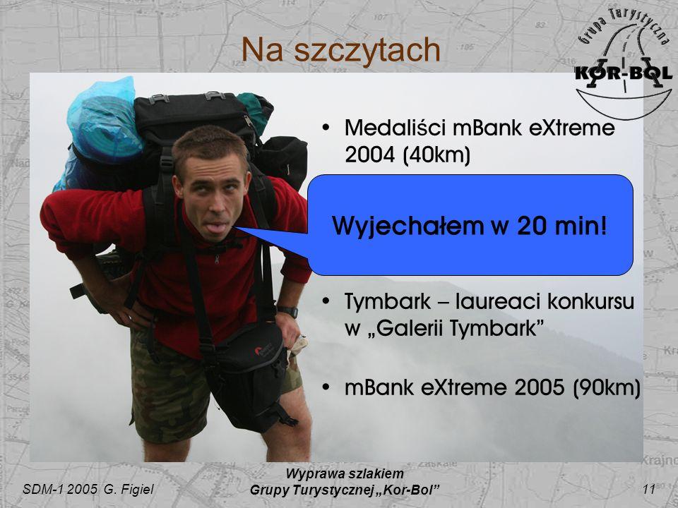 SDM-1 2005 G. Figiel Wyprawa szlakiem Grupy Turystycznej Kor-Bol 11 Na szczytach Medali ś ci mBank eXtreme 2004 (40km) Ś wi ę tokrzyska Seta – próba s