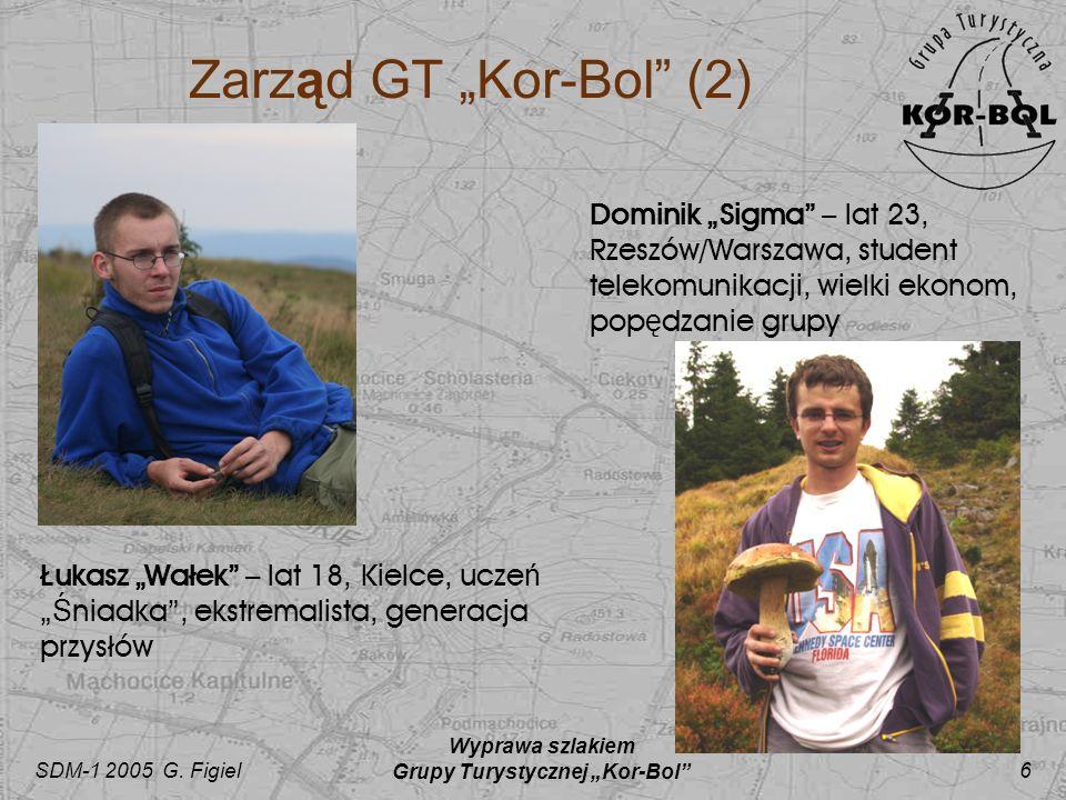 SDM-1 2005 G. Figiel Wyprawa szlakiem Grupy Turystycznej Kor-Bol 6 Zarząd GT Kor-Bol (2) Dominik Sigma – lat 23, Rzeszów/Warszawa, student telekomunik