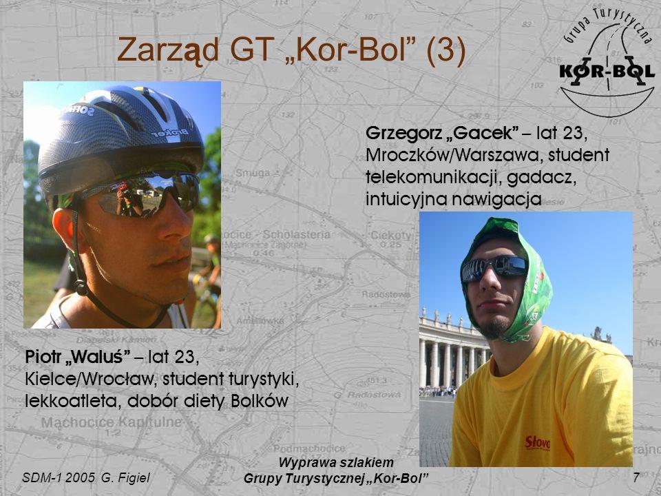 SDM-1 2005 G. Figiel Wyprawa szlakiem Grupy Turystycznej Kor-Bol 7 Zarząd GT Kor-Bol (3) Piotr Walu ś – lat 23, Kielce/Wrocław, student turystyki, lek